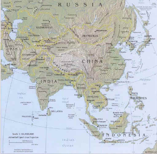 Map of Asia Russia Khazakhstan India China Korea Japan